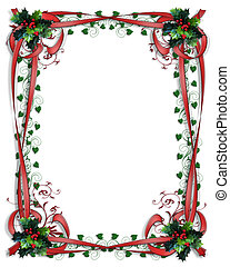 Christmas Holly Border ribbons Frame 3D - Image and...