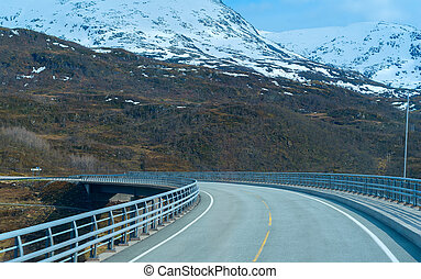 Bridge on the road in Norvegian mountains