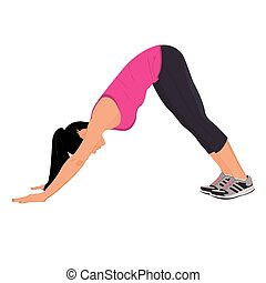 Woman doing her yoga stretch, vector illustration