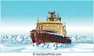 icebreaker - Vector illustration on the theme of the north....