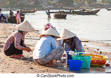 Fishing village, market and colorful traditional fishing...