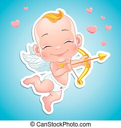 Lovely Cupid with bow - Vector illustration with Baby Cupid...