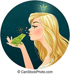 Beautiful lady kisses a frog - Vector illustration with...