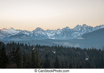 Landscape of Tatra Mountains at sunset on the Slovak-Polish...