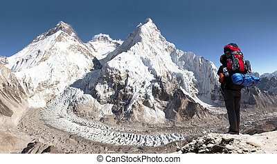 Everest from Pumo Ri base camp with tourist - view of...
