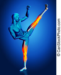 3D blue medical figure in kick boxing pose - 3D render of a...