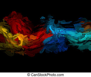Abstract paint background - Colourful oil paint strokes on a...