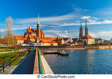 Cathedral Island in the morning, Wroclaw, Poland - Cathedral...