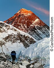 Mount Everest with tourist - Evening view of Mount Everest...