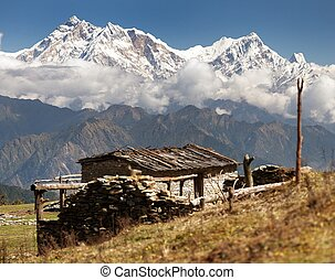 mount Annapurna - Nepal - view from Jaljala pass with chalet...