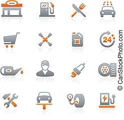 Gas Station -- Graphite Series - Vector icons for your...