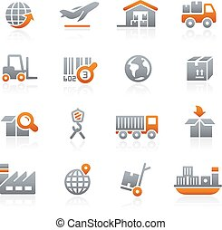 Industry and Logistics -- Graphite - Vector icons for your...