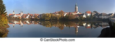 Panorama Telc or Teltsch town mirroring in lake