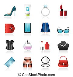 Female accessories and clothes icon
