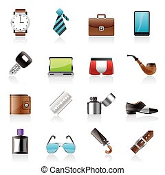 Male accessories and clothes icons