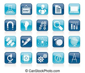 Research and Education Icons - Science, Research and...