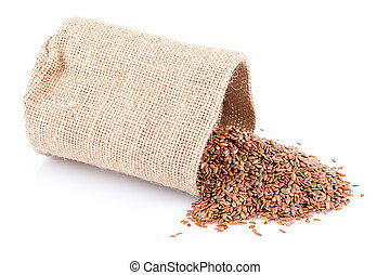 Flaxseed Sack - Flaxseed in burlap sack isolated on white...