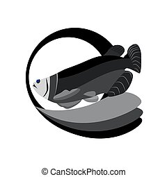 monochrome tuna fish - a vector illustration of a monochrome...