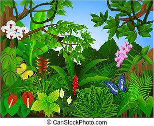 piękny, tropikalny, las