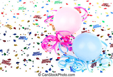 coriandoli, compleanno, palloni