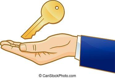 Key on businessman's hand vector