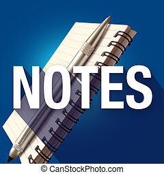 Notes Notepad Word Long Shadow Take Write Important...