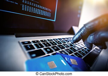 Unauthorized Payments - Credit Cards Theft Concept. Hacker...