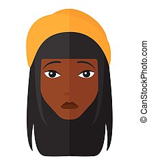 Young depressed woman. - Young depressed an african-american...