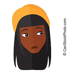 Young depressed woman - An african-american depressed woman...
