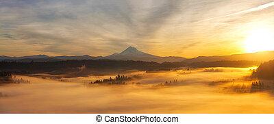 Sunrise Over Mt Hood Panorama - Sunrise Over Mt Hood View...