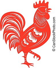 Cock. Symbol of Chinese year zodiac. Paper cut style.