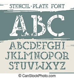 Slab serif stencil-plate font with old metal texture Print...