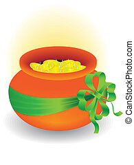 pot with gold - Symbol of a holiday of day of sacred Patrick...