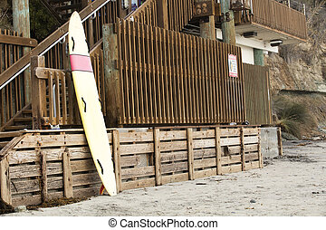Leaning Surfboard at Swamis Beach - Leaning surfboard at...