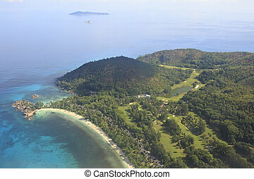 Beautiful Seychelles in the Indian Ocean. View from the...
