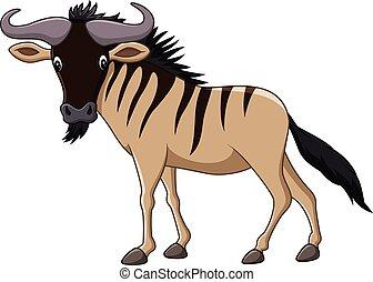 Cartoon wildebeest mascot isolated - Vector illustration of...
