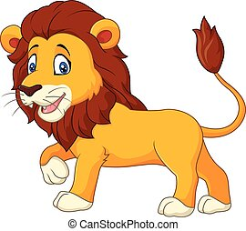 Cute lion walking isolated