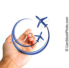 hand holding planes flying icon ilustration and photo design