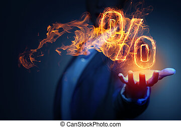 Hot interest rate - Hand touch percent light glowing symbol...
