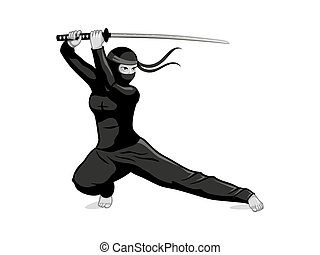 Ninja with sword - Female ninja with katana sword