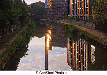 Canal along Potomac River - Georgetown suburb in Washington...
