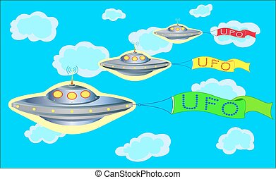 The parade of UFOs in the blue sky.
