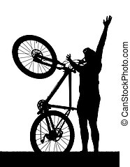 Silhouette of a cyclist with mountain bike isolated on white...