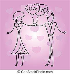 pareja, en, amor, con, balloons.,