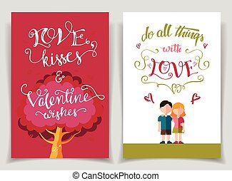 Valentines day greeting cards set with calligraphy -...