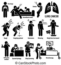 Lung Cancer - Set of illustrations for lung cancer disease...