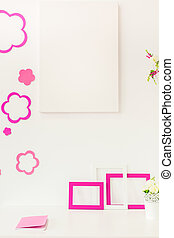 White and rose workspace in girls room