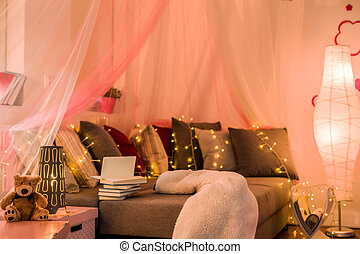 Fairy lights in teen bedroom - Fairy lights and baldachin in...