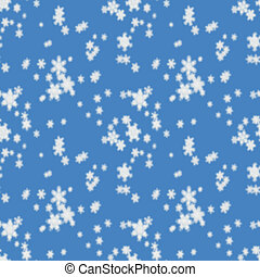 Seamless pattern of defocused falling snow on light blue...