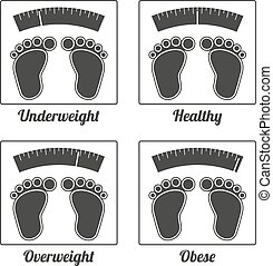 4 isolated icons for underweight, healthy weight, overweight and obese